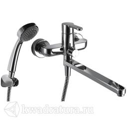 Смеситель для ванны Bravat F63783CLB Stream с длинным изливом и душевой лейкой