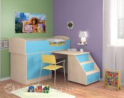 Кровать Дюймовочка 2 голубая