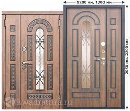 Входная металлическая дверь со стеклопакетом и ковкой 9,5 см Vikont 1200,1300
