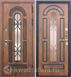 Входная металлическая дверь со стеклопакетом и ковкой 9,5 см Vikont Орех грецкий/Орех грецкий