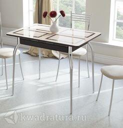 Стол обеденный Рим Венге/Бежевое стекло с рисунком