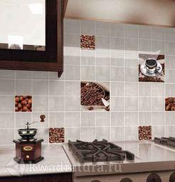 Плитка Нефрит-Керамика Акварель 20х20 4 уп- 4м2, декоры кофе20х20 5 шт