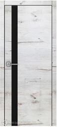 Межкомнатная дверь Royal 2 Дуб Арктика стекло черное
