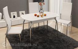 Стол обеденный Ницца Металл-Кожа белая-Стекло с рисунком белое