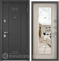 Дверь входная стальная Торэкс Delta М 10 Черный шелк DL-2/ПВХ БЕЛ перламутр СК6М